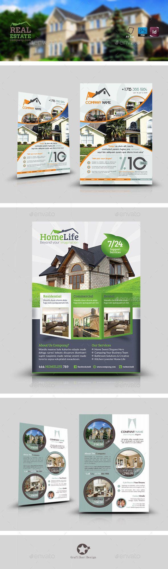 Real Estate Flyer Bundle Templates | Afiches creativos, Folletos y ...