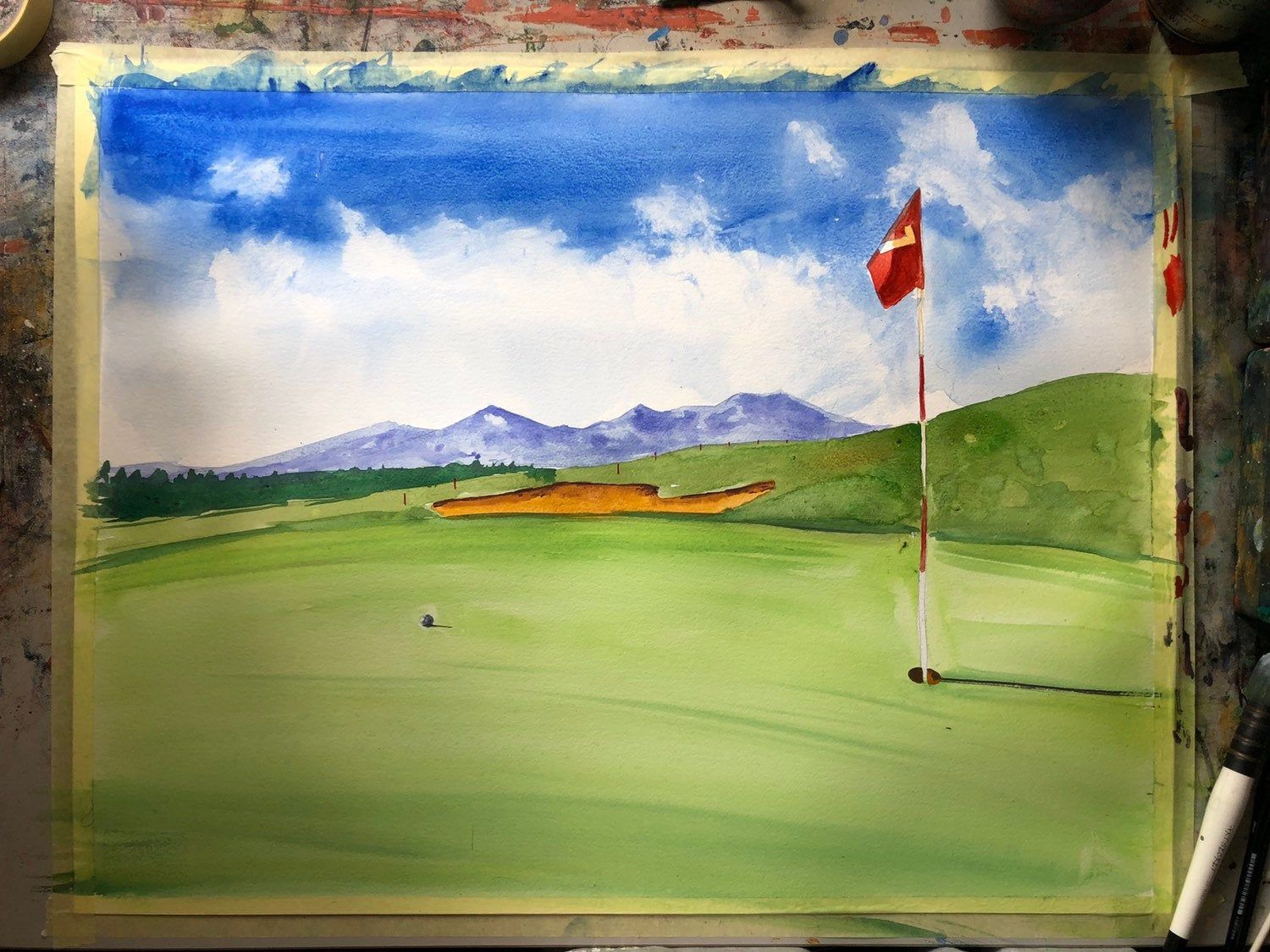 Golf course watercolor painting golf art golf painting