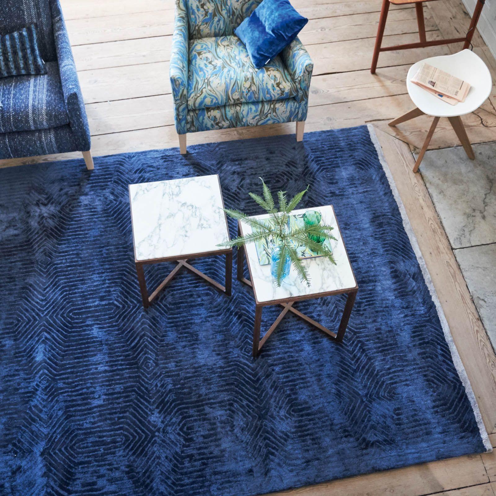 Roxburgh Indigo Rug by Designers Guild Blue rugs living