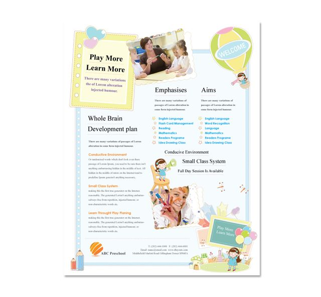 Preschool Flyer Template  Flyers    Flyer Template And