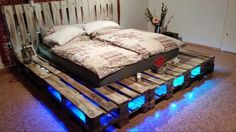 Paletten Bett selbst gebaut