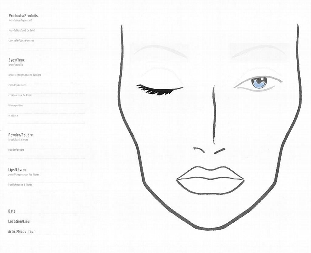 Make Up Chart 9 Awesome Blank Face Charts Images