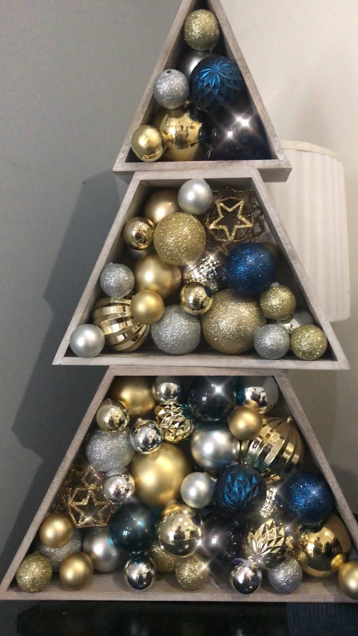 Kmart Tree Hack Hot Glued Balls And Stacked Blue Gold Silver White Wine Glass Candle Christmas Decorations Xmas