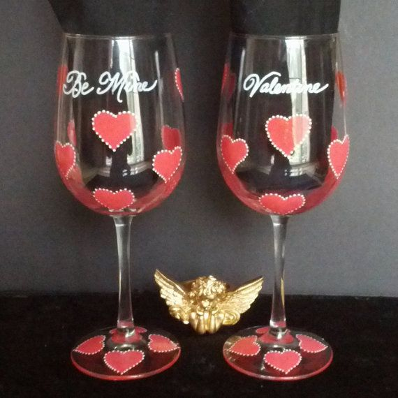Valentine Heart hand painted wine glasses by GlassesbyJoAnne, $36.00
