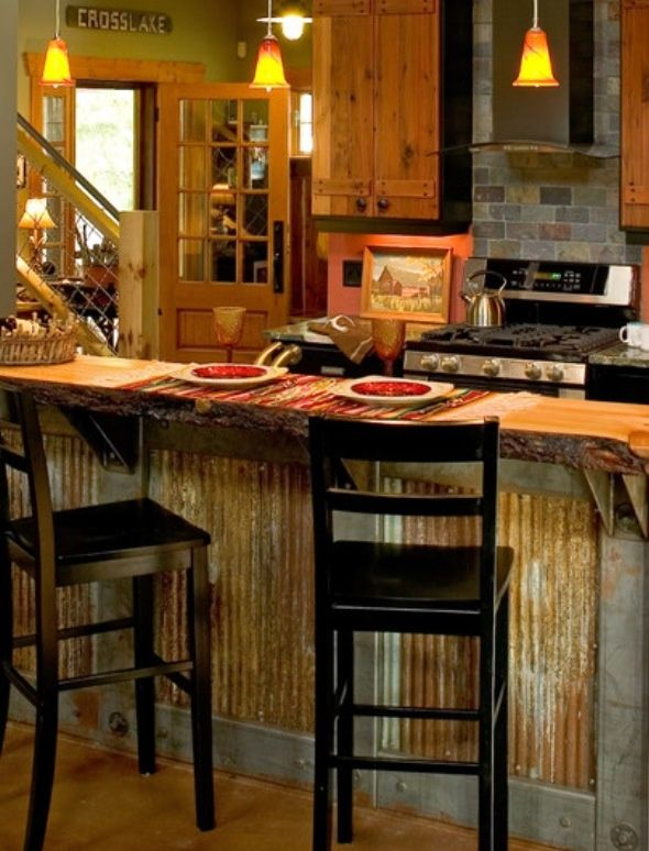 Corrugated Metal Island Wi House Kitchen Wainscoting