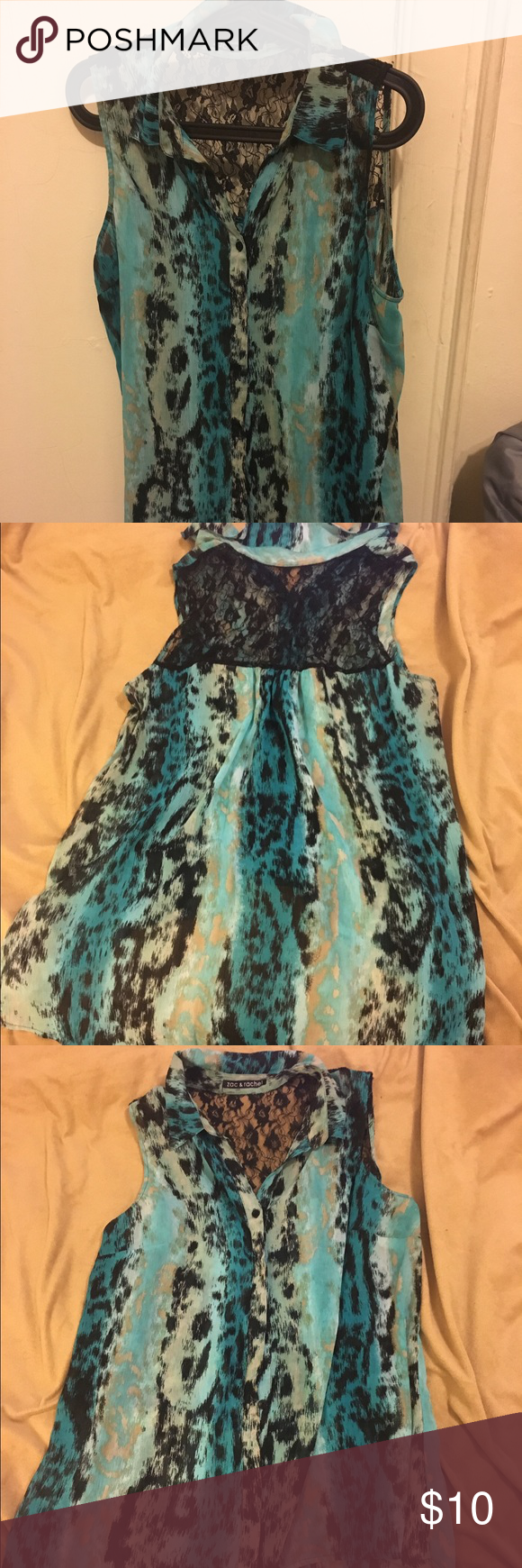 EUC! Blue-green leopard print hi-lo top with lace. Blue-green hi-lo too featuring a leopard print and lace inset on the back. Only worn a handful of times. Somewhat shear. Size XL. Tops Blouses