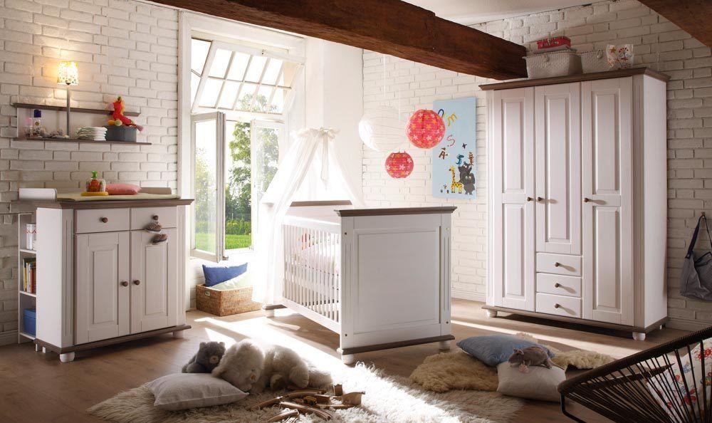 Babyzimmer Kinderzimmer Babybett weiß massiv lava Landhausstil neu ...