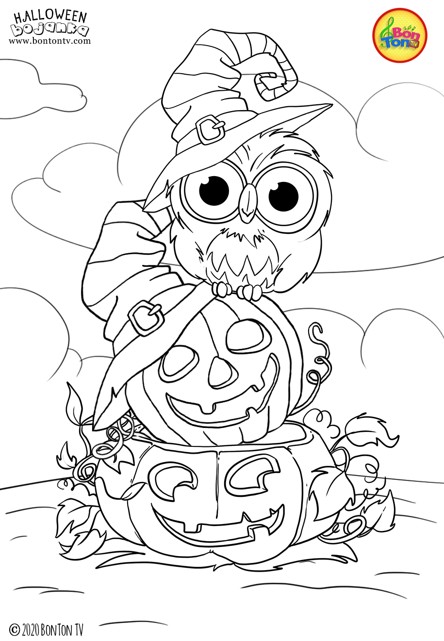 Halloween Coloring Pages For Kids Free Preschool Printables Noc Vjestica Bojanke Cute H Scary Halloween Crafts Halloween Coloring Book Halloween Coloring