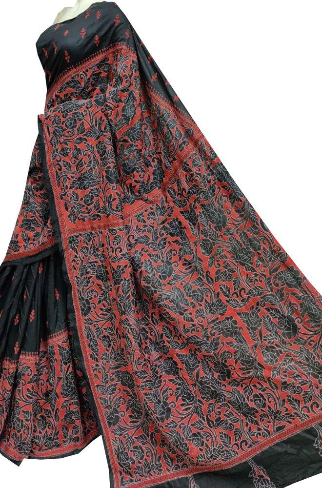 Buy online Black Hand Embroidered Kantha Bangalore Silk