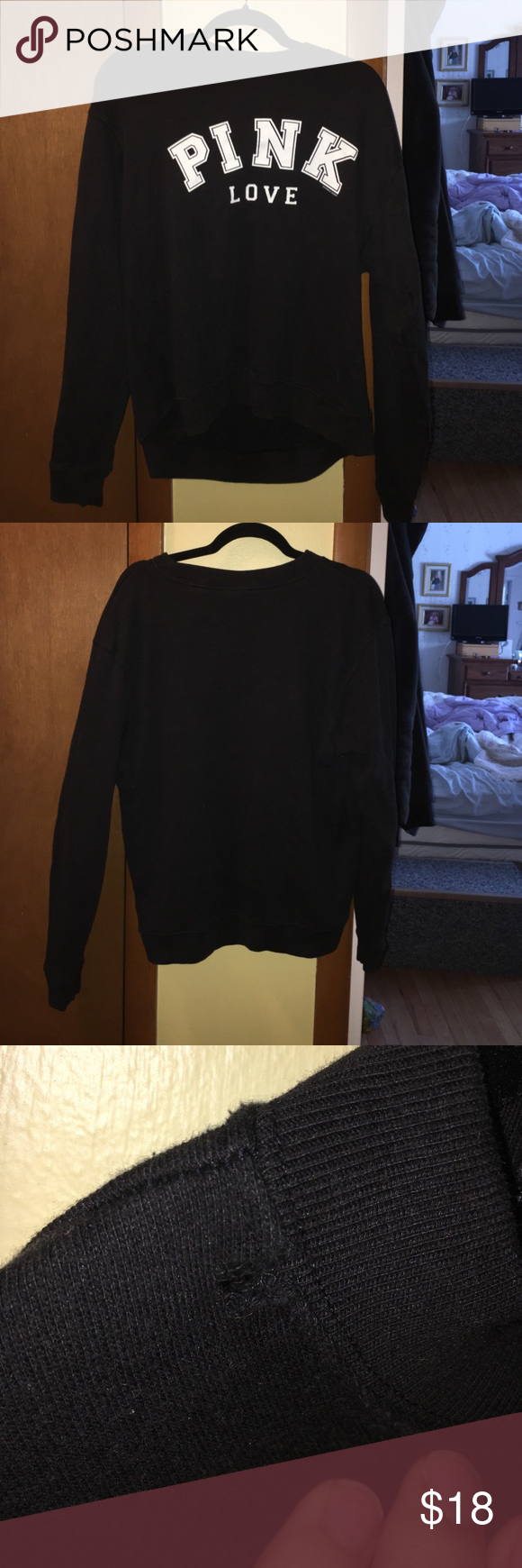 Black PINK Crew Neck Sweatshirt Size M Black Victoria's Secret PINK crew neck sweatshirt size Medium. Small hole on the collar. Good condition. PINK Victoria's Secret Sweaters Crew & Scoop Necks