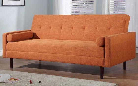FurniPlanet.com   Buy Grey/Orange Microfiber Cheap Fabric Sofa Bed KK 18