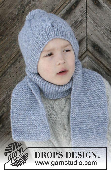 Conjunto composto por  Gorro e cachecol em tricô para crianças. Dos 2 aos  12 anos. O conjunto tricota-se em DROPS Air. ff6338297ba