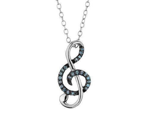 Blue Diamond Music Note Pendant Necklace 1/10 Carat (ctw) in Sterling Silver with Chain MyJewelryBox. $79.99. Free Signature MyJewelryBox Gift Box. If you are not completely satisfied, you can return any order for refund or exchange within 30 days from the date of shipment - shop with confidence!