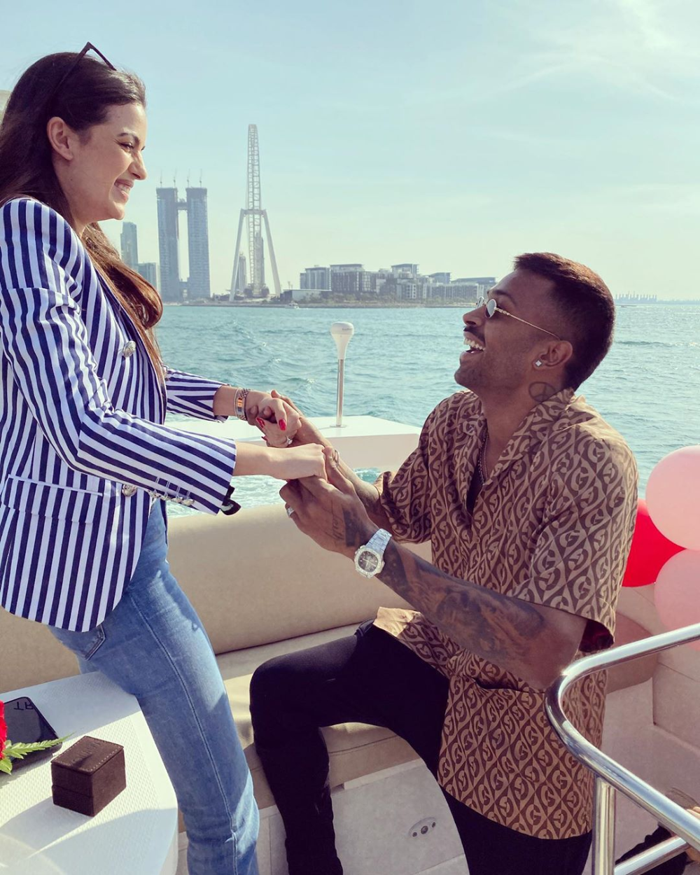 Hardik Pandya S Engagement To Natasa Stankovic On A Yacht Is Goals In 2020 Intimate Wedding Celebrity Weddings Most Beautiful Indian Actress