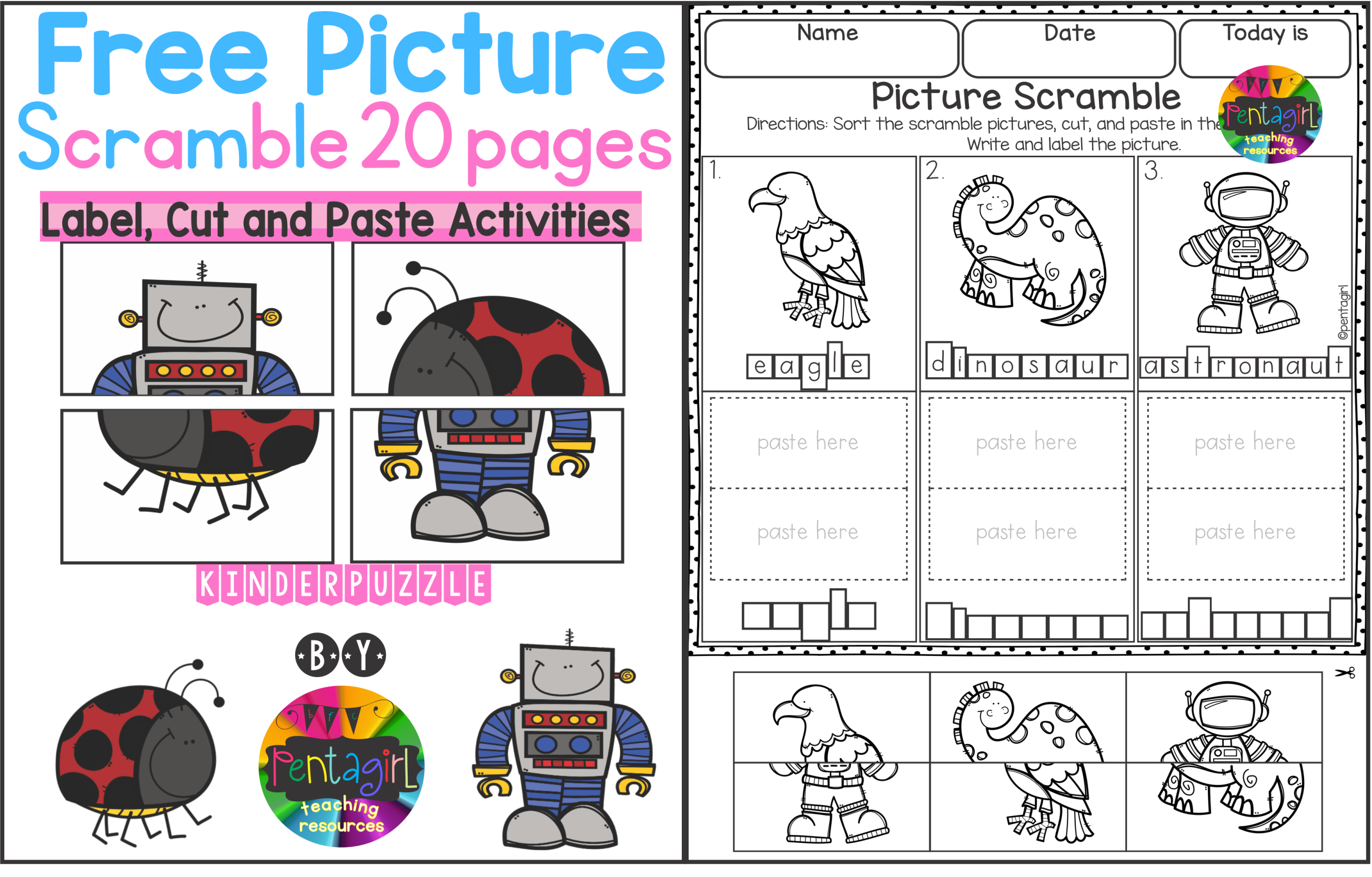Free Kinder Picture Scramble 20 Pages. Fun activities for ...