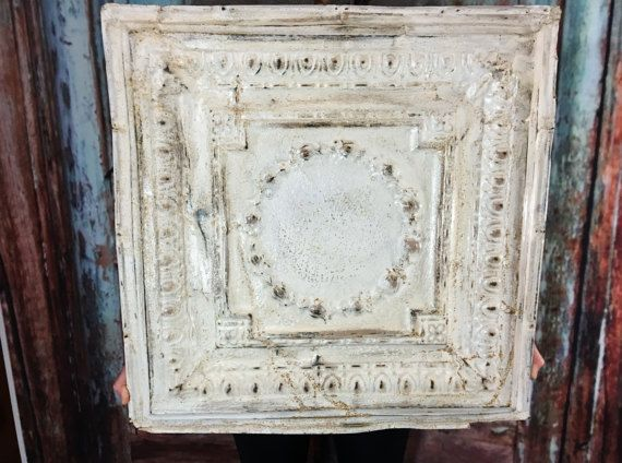 large antique tin ceiling tile 24 x 24 salvaged rustic condition