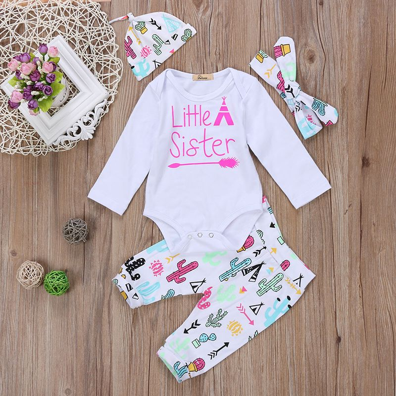 6ccfe63b26844 3PCS Set Newborn Toddler Kids Girl Clothes Little Sister Romper Big ...