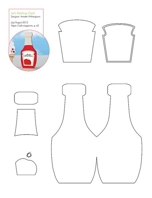 Free Ketchup Bottle Pattern Template Felt Food Patterns Felt