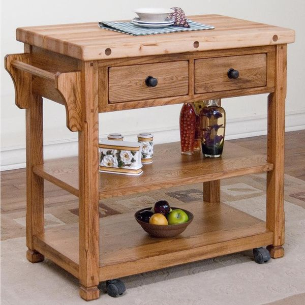 Sunny Designs Sedona Butcher Block Kitchen Island Cart Rustic Oak Simple Butcher Block Kitchen Island Review