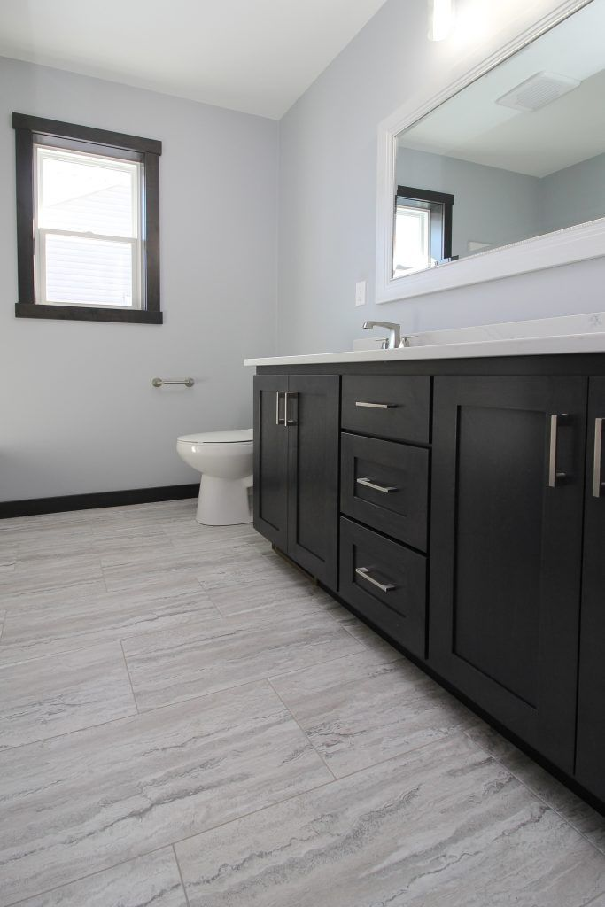 Light Gray Luxury Vinyl Tile Bathroom Floor | Vinyl tile ...