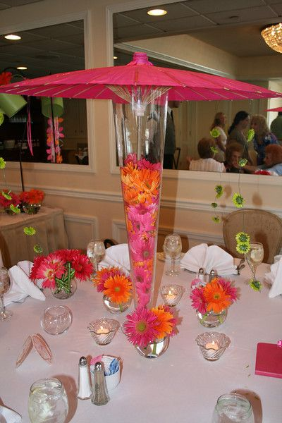 Pink And Orange Parasol Bridal Shower This Was A Bridal