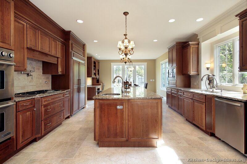 Traditional Medium Wood Cherry Kitchen Cabinets 61 Kitchen Design