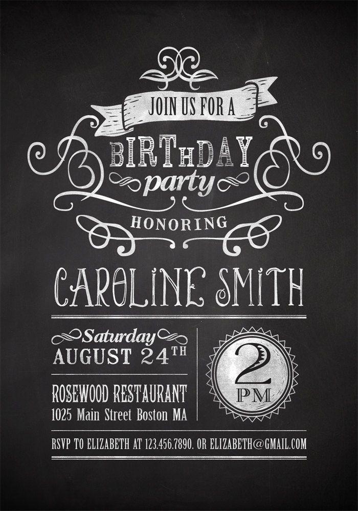 Nice Free Printable Birthday Invitation For Adult  Birthday