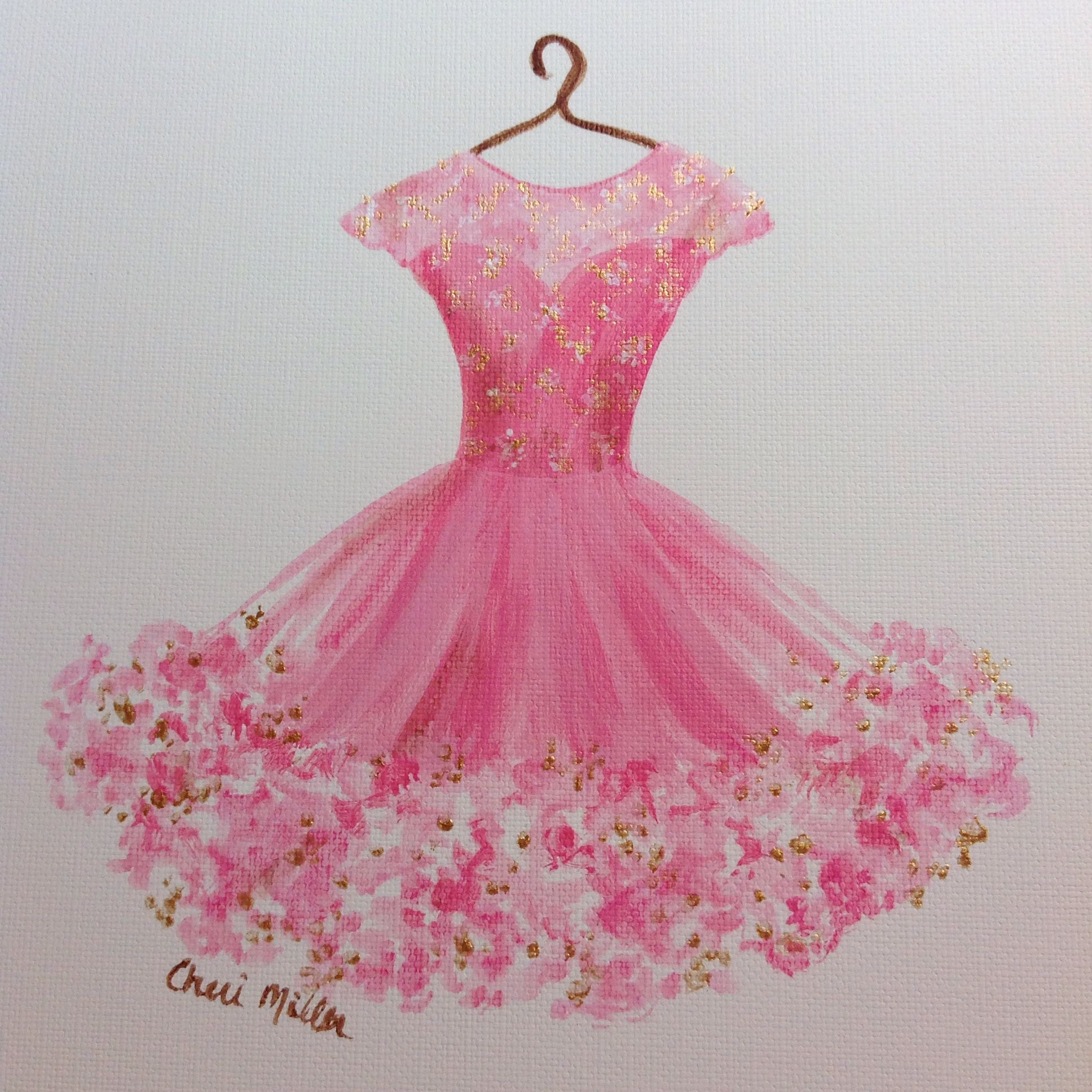 FashionIllustration #Prom Dress #pink #art #pinkdress #CocktailDress ...