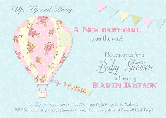 Hot Air Balloon Baby Shower Invitation Time To Party