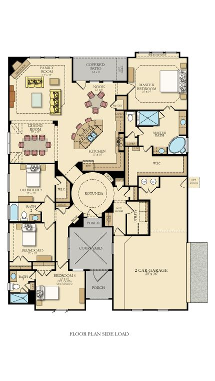 The 2 548 Square Foot Shelburne From Lennaraustin Has 4 Bedrooms And 3 Bathrooms Perfect For Single Story Livi New House Plans House Plans Dream House Plans