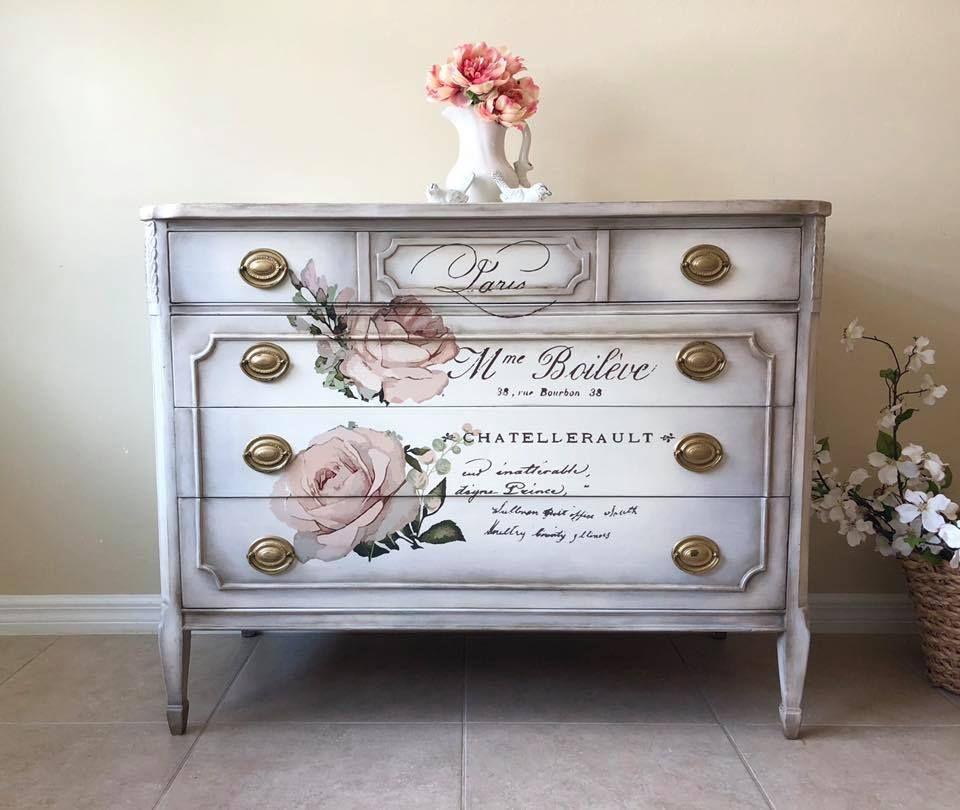 Beautiful Dresser Created Using The Chatellerault Transfer Prima Redesign Transfer Chatellerault Prima Beautiful Dresser Chatellerault Painting Furniture Diy