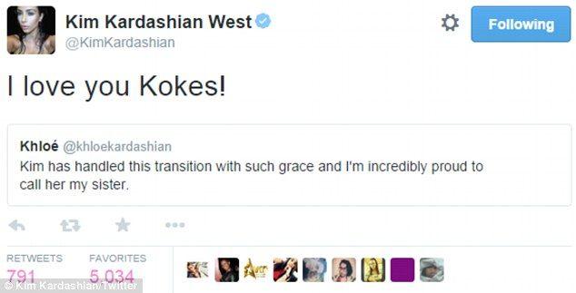 Lots of love: Kim tweeted Khloe after her praise...