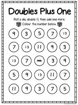 doubles plus one bingo 2g math math fun math games math bingo. Black Bedroom Furniture Sets. Home Design Ideas