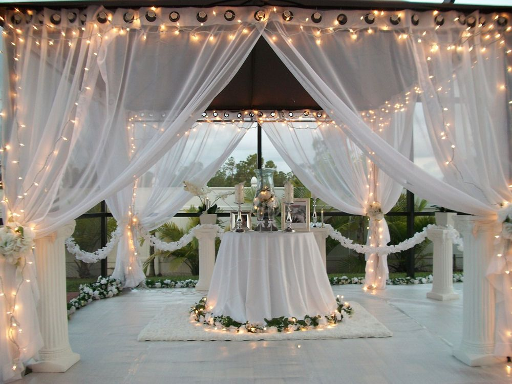 Patio pizazz outdoor gazebo white wedding drapes price for Outdoor wedding gazebo decorating ideas