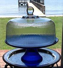 Cobalt Blue Glass Pedestal Cake Stand Plate ANCHOR HOCKING Monaco w/Dome & Cobalt Blue Glass Pedestal Cake Stand Plate ANCHOR HOCKING Monaco w ...