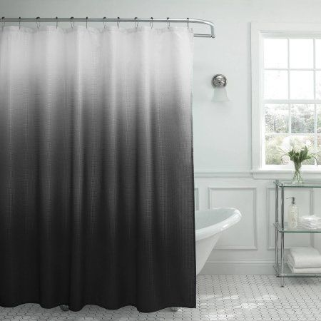 Bounce Comfort Ombre 70 Inch X 72 Waffle Weave 13 Piece Shower Curtain Set With Beaded Rings Dark Grey Gray