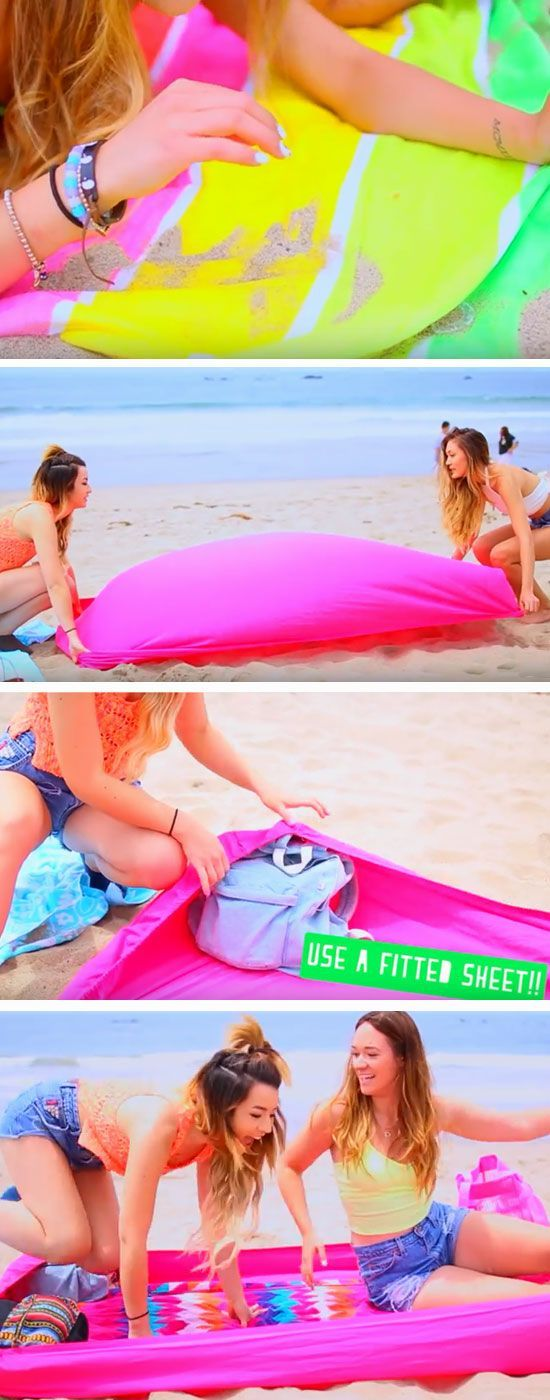 Block Sand with a Fitted Sheet | 22 DIY Beach Hacks for Teens that…