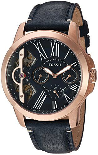 Fossil Men's Quartz Stainless Steel and Leather Casual Watch, Color:Blue (Model: ME1162)