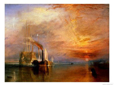 """The """"Fighting Temeraire"""" Tugged to her last berth to be broken up.  William Turner               (sad and beautiful)"""