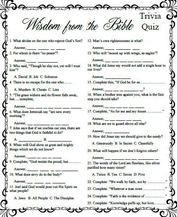 photo regarding Printable Bible Trivia Games known as Our Bible Online games addresses a large spectrum of people in america, destinations