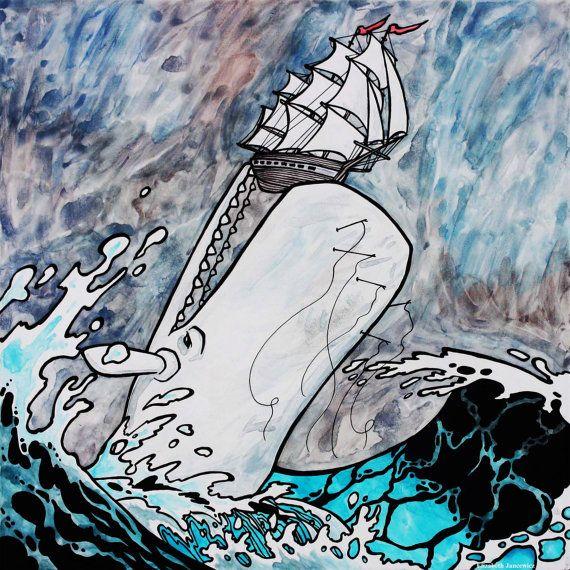 White Whale Attacking a Ship Art Print by ElizabethJJancewicz