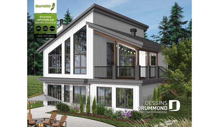 Decouvrez Le Plan 3998 Malbaie Qui Vous Plaira Pour Ses 3 Chambres Et Son Style Chalet Small Lake Houses Drummond House Plans Lake House Plans