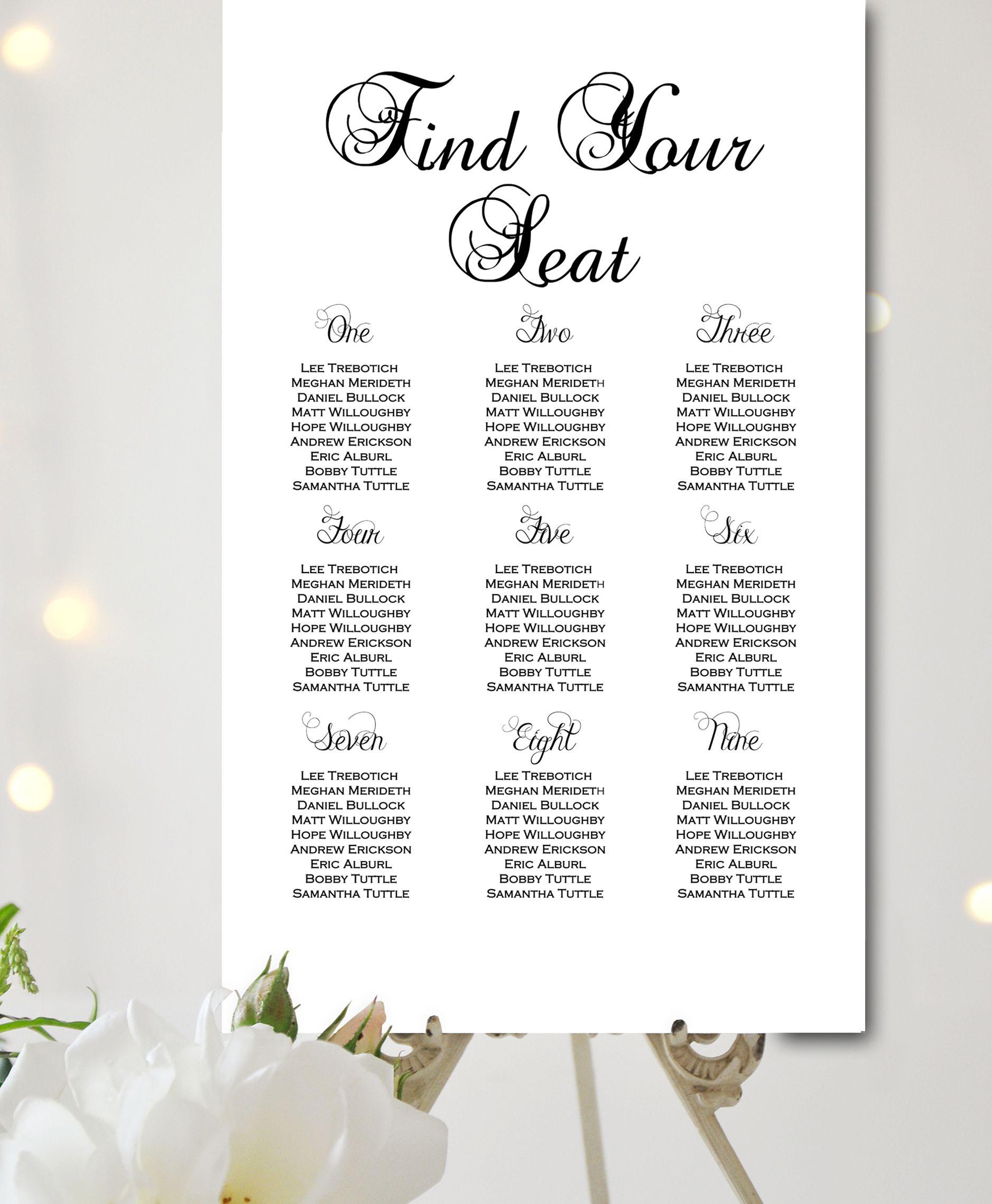 Custom Black White Precious Wedding Seating Chart Wedding Seating