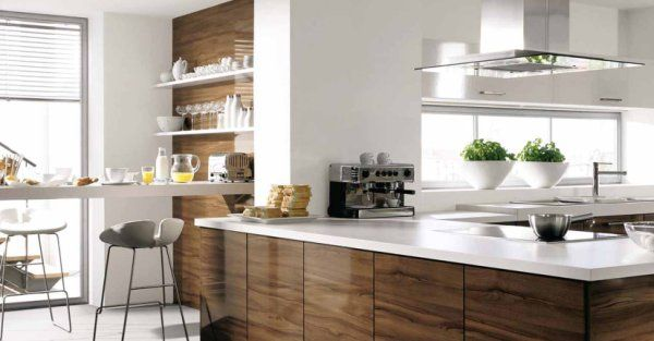 Ordinaire White And Wood Kitchens, Would Use Mint Chairs At The Breakfast Bar