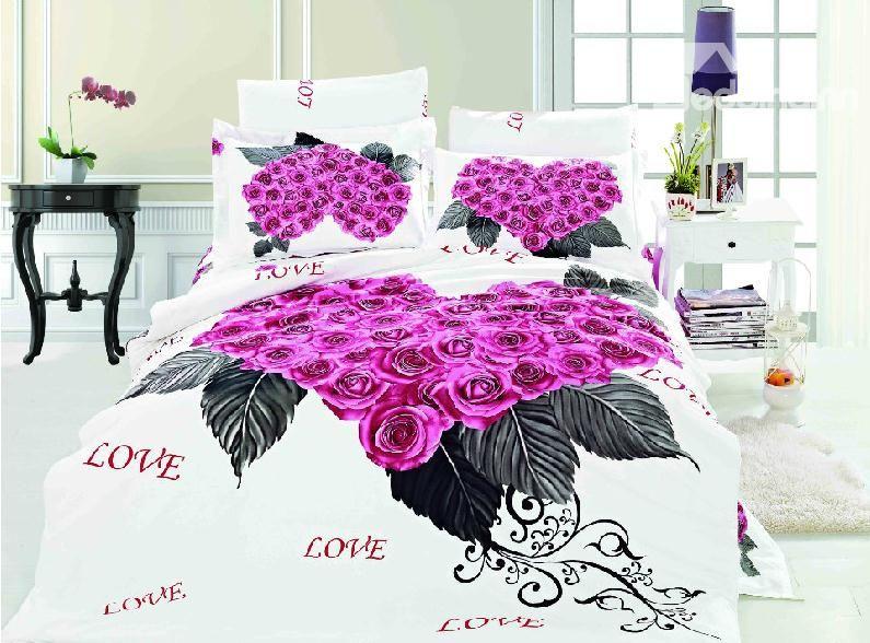 New Arrival Purple Roses Heart Shaped 4 Piece Bedding Sets Duvet Elegant Bedding Sets Holiday Bed Bedding Sets