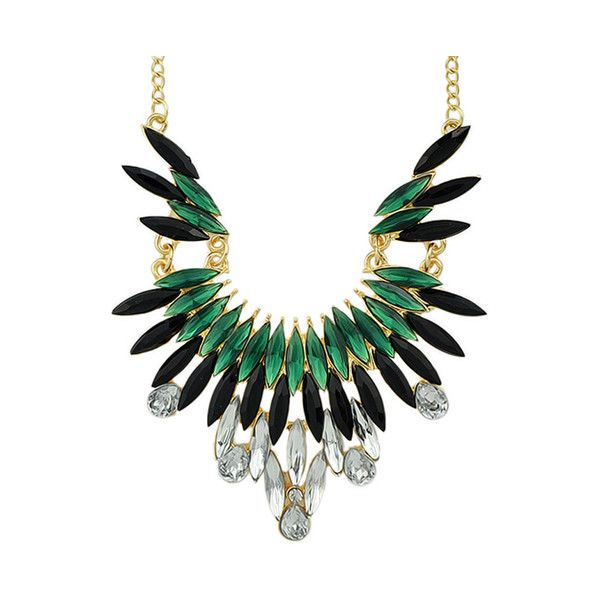 New Fashion Green Gemstone Beautiful Women Shourouk Necklace ($4.99) ❤ liked on Polyvore featuring jewelry, necklaces, green gemstone necklace, gemstone jewelry, green necklace, shourouk and gem necklace