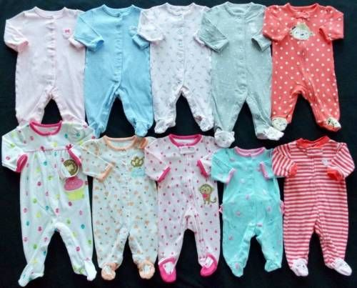 Doublequicktime Baby Girl Carters Size Newborn 0 3 3 Months Cotton Pajama Sleepers Clothes Lot For Usd40 00 Earn Baby Girl Reborn Baby Girl Cotton Pyjamas
