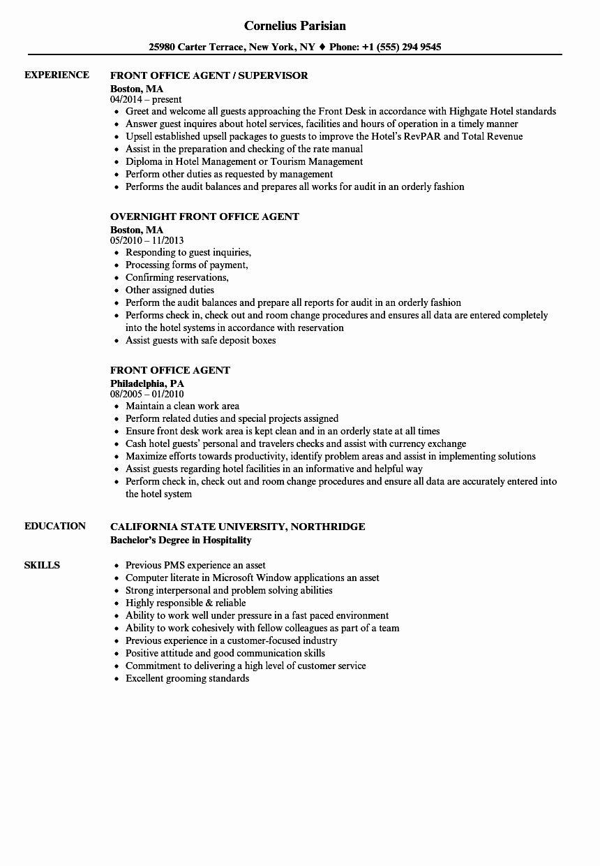 Ramp Agent Job Description Resume Elegant 11 12 Puter Literate Resume Examples Front Desk Agent Front Desk Hotel Front Desk