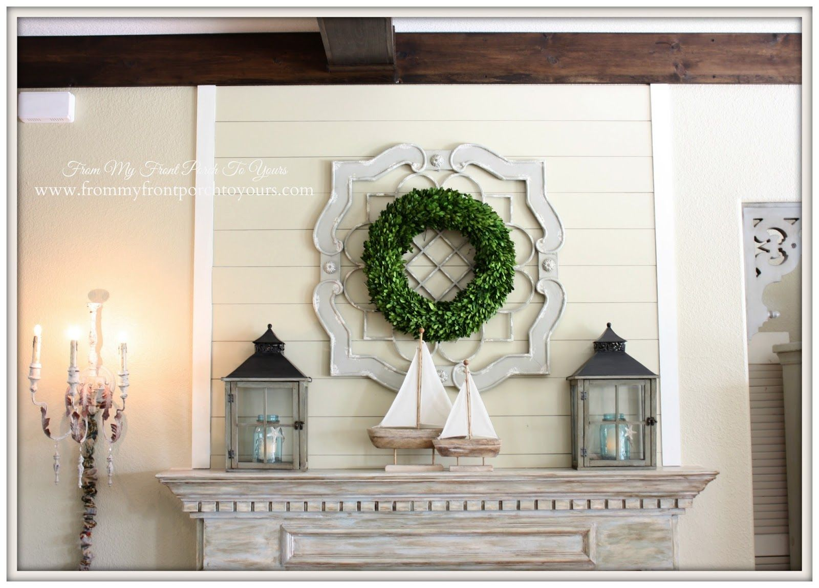 Simple Nautical Fireplace Mantel Display From My Front Porch To Yours