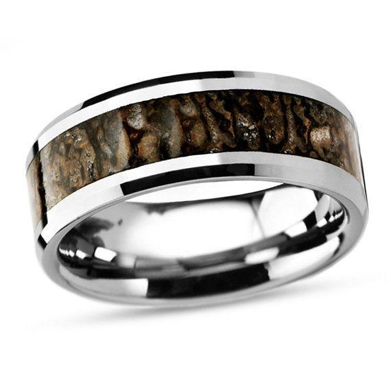 Dinosaur Bone Ring Tungsten Wedding Band Inlaid By Jewelrybyjohan